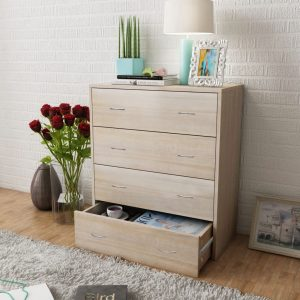 4 Drawer Sideboard Cabinet - Oak