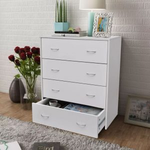 4 Drawer Sideboard Cabinet - White