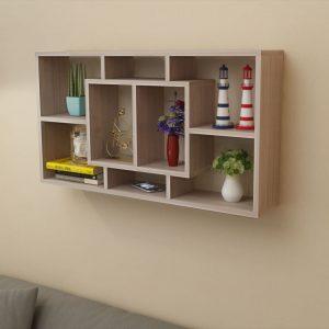 8 Compartment Floating Wall Display Shelf - Oak