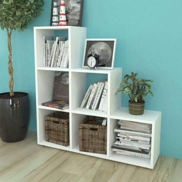6 Compartment Wooden Display Unit - White