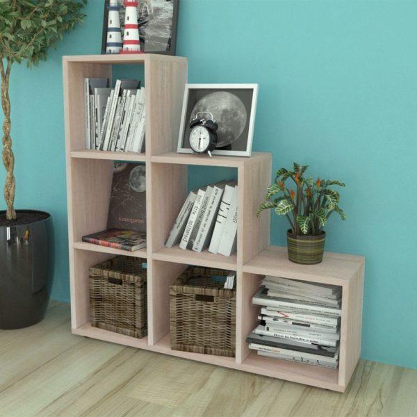 6 Compartment Wooden Display Unit - Oak