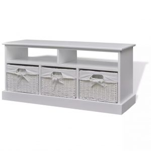 Storage Bench with Baskets - White