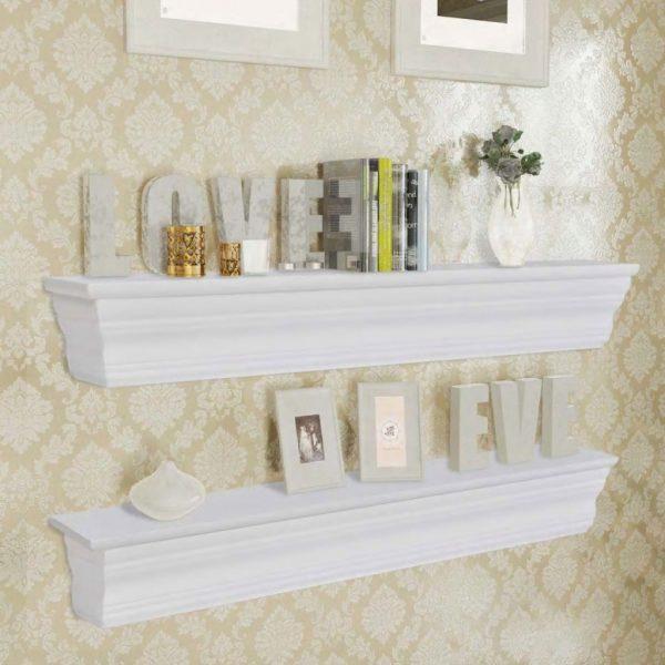 2 Piece Wall Shelf Set - White