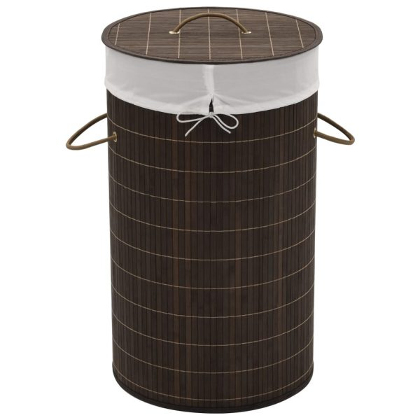 Round Laundry Bin - Dark Brown