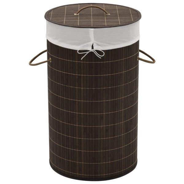 Round Laundry Bin - Dark Brown