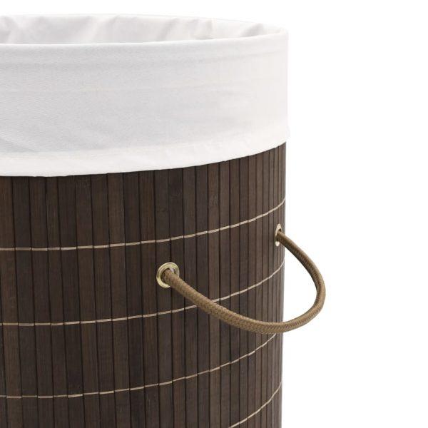 vidaXL Bamboo Laundry Bin Round Dark Brown