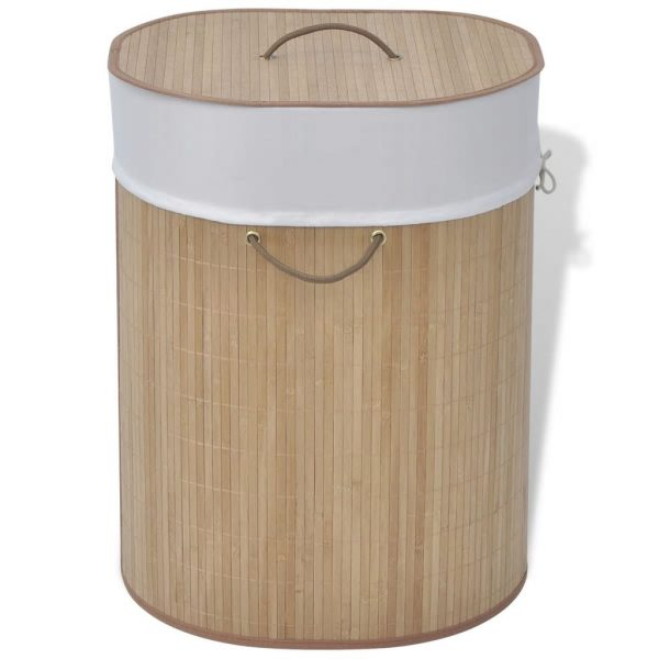 vidaXL Bamboo Laundry Bin Oval Natural
