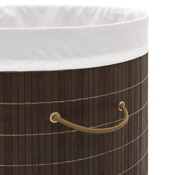 vidaXL Bamboo Laundry Bin Oval Dark Brown