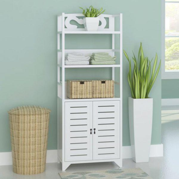 Wooden Bathroom Cabinet - White