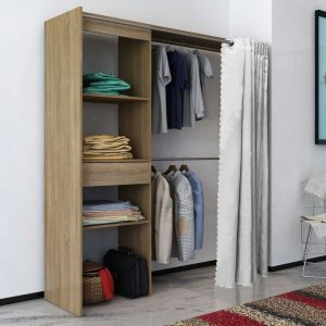 Wardrobe with Curtain - Oak
