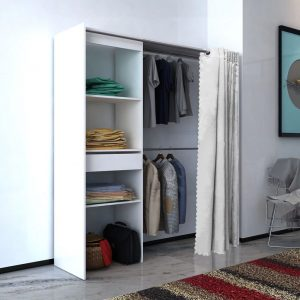Wardrobe with Curtain - White