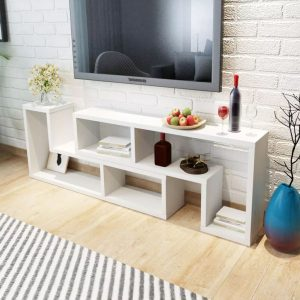 Double L-Shaped TV Cabinet - White