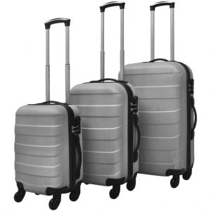 Three Piece Hard case Trolley Set - Silver