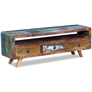 TV Cabinet with 3 Drawers - Solid Reclaimed Wood