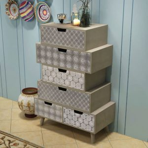 Side Cabinet 6 Drawers - Grey