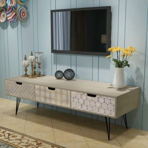3 Drawer TV Cabinet - Grey