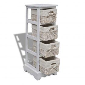 4 Basket Wooden Storage Rack