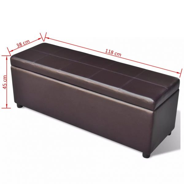 Long Wooden Storage Bench - Brown