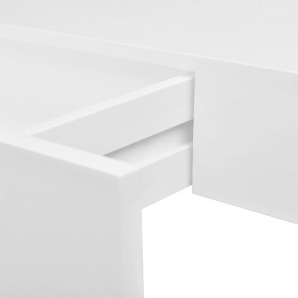 Floating Wall Display Shelf with Drawer - White