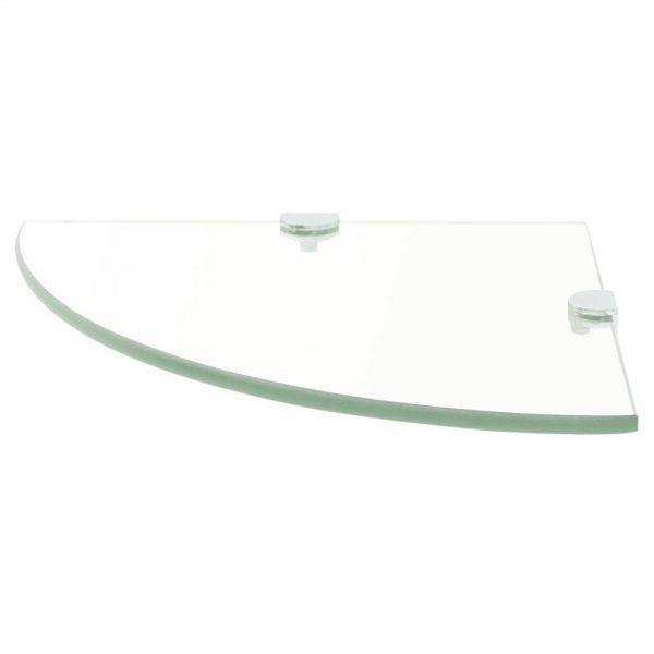 Clear Glass Corner Wall Shelf - 35cm x 35cm