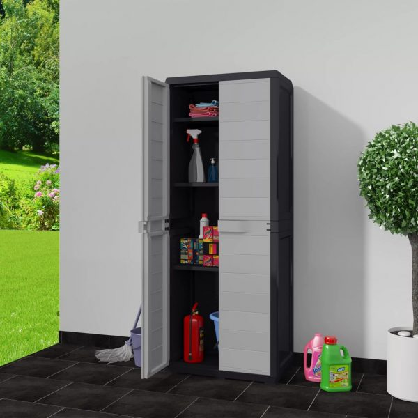 Garden Storage Cabinet - Black and Grey