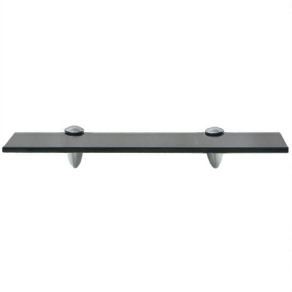 Black Glass Floating Wall Shelf - 40cm x 20cm
