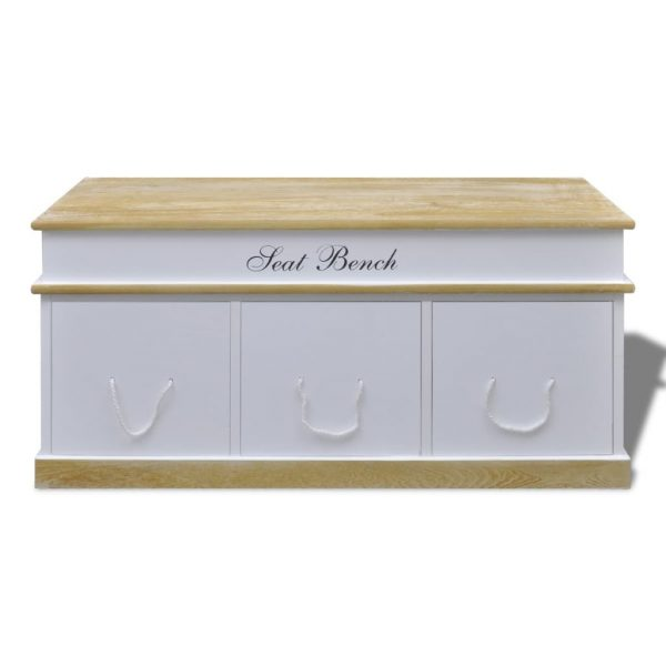 Large 3 Drawer Storage Bench - White