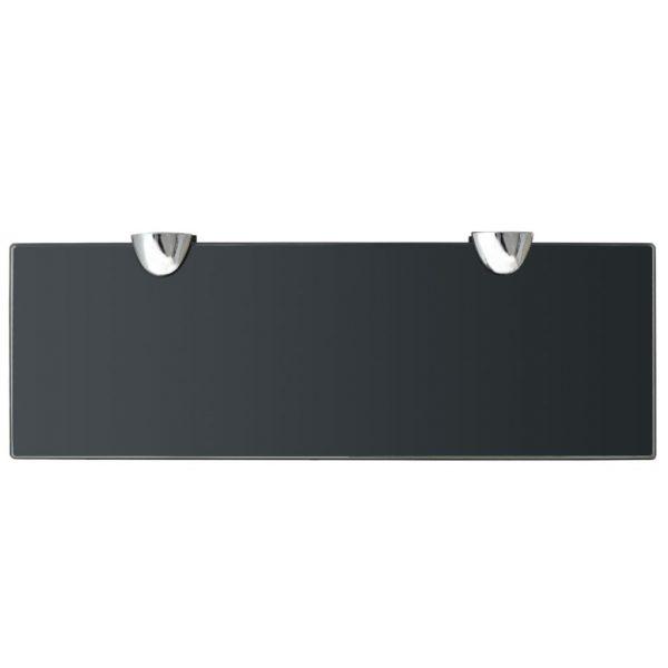 Black Glass Floating Wall Shelf - 30cm x10cm
