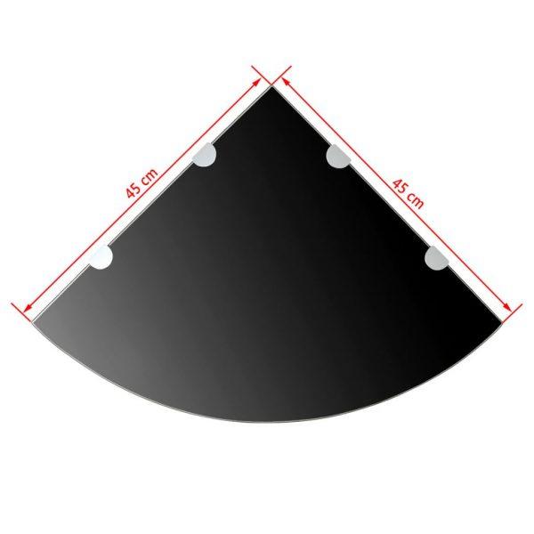 Black Glass Corner Wall Shelf - 45cm x 45cm