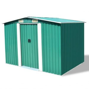 Large Metal Garden Shed - Green