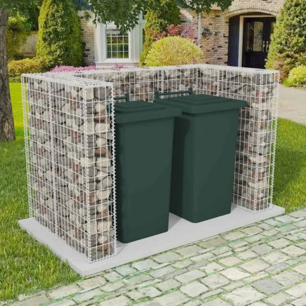 Double Wheelie Bin Gabion Surround - Steel