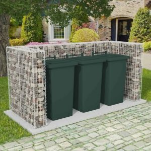 Triple Wheelie Bin Gabion Surround - Steel