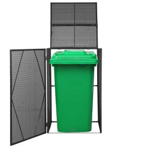 Single Wheelie Bin Shed - Black