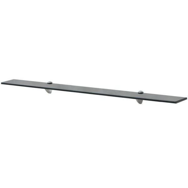 Black Glass Floating Wall Shelf - 100cm x 10cm