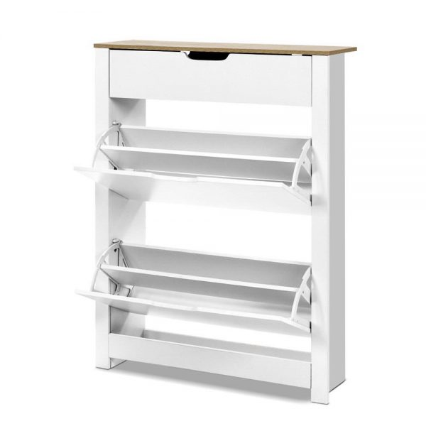 16 Pair Contemporary Shoe Cabinet - White