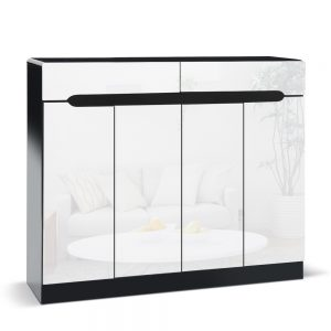 High Gloss Shoe Cabinet - White & Black