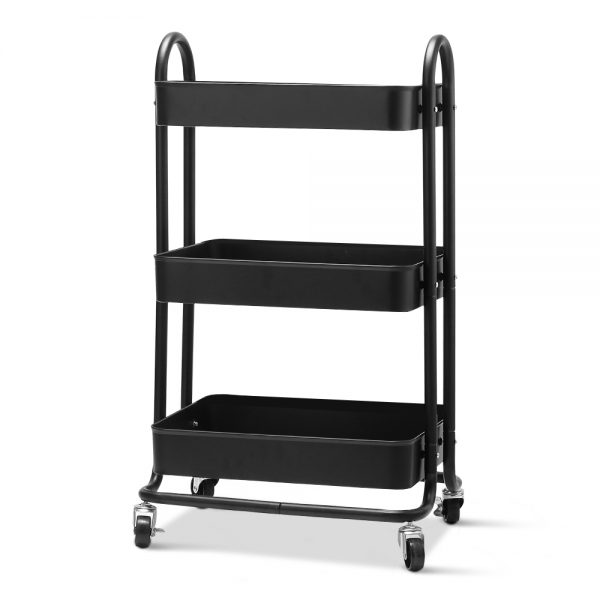 3 Tier Rolling Storage Cart - Black
