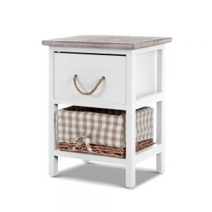 Country Style Bedside Table Set - White