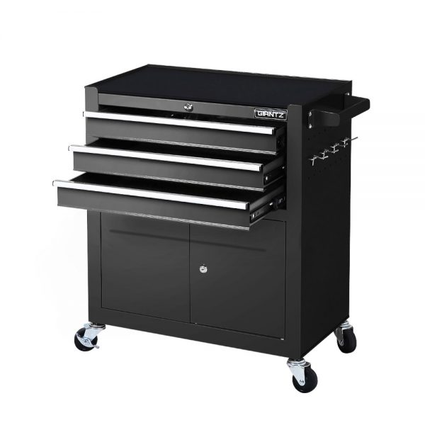 3 Drawer Tool Box Trolley - Black