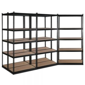 Set of 5 – 2×0.9m 5-Tier Garage Shelving Unit – Black