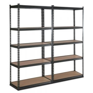 Set of 2 - 2x0.9m 5-Tier Garage Shelving Unit - Charcoal