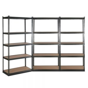 Set of 3 – 2×0.9m 5-Tier Garage Shelving Unit – Charcoal