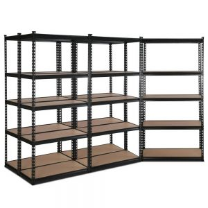Set of 5 – 2×0.9m 5-Tier Garage Shelving Unit – Charcoal