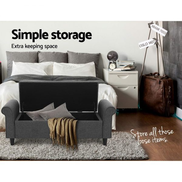 Premium Storage Ottoman - Grey