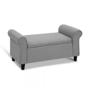 Premium Storage Ottoman - Light Grey
