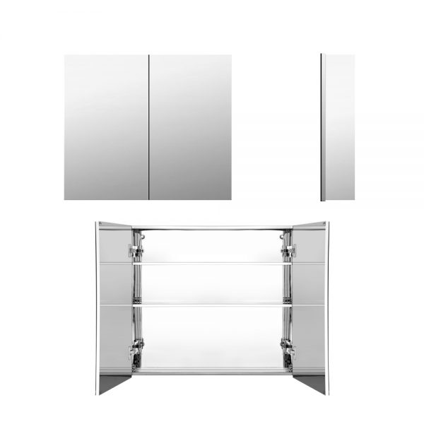 600mm x 720mm Bathroom Mirror Storage Cabinet - Silver