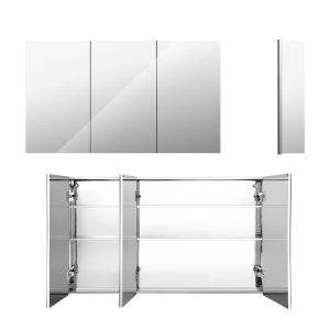900mm x 720mm Bathroom Mirror Storage Cabinet - Silver