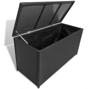 Garden Storage Box Black - Poly Rattan