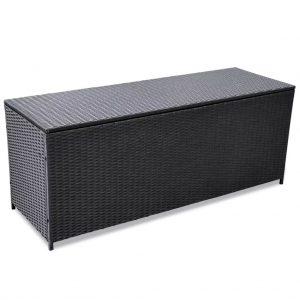 Garden Storage Box Black - Poly Rattan