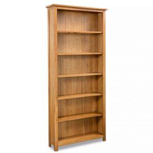 6-Tier Bookcase - Solid Oak Wood
